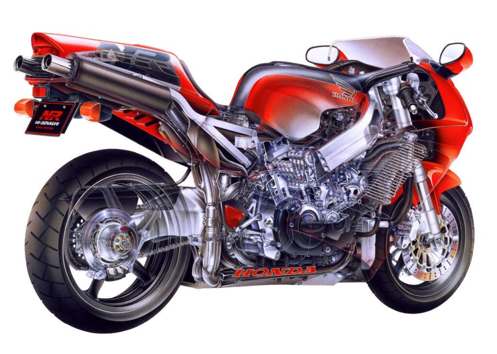 Honda NRの透視図リヤビュー