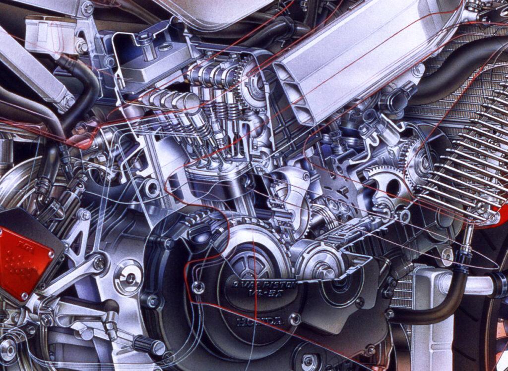 Honda NR透視図のエンジン部アップ