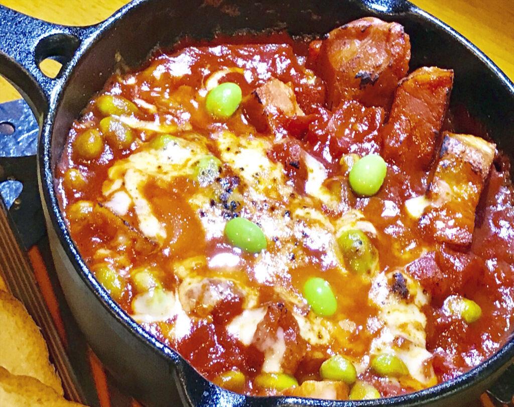 ベーコンと枝豆のトマト煮